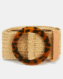 Joy Collectables Circle Buckle Stretch Belt Natural
