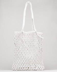 Joy Collectables Crochet Shopper Bag White