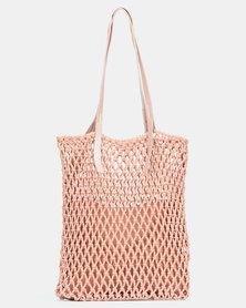 Joy Collectables Crochet Shopper Bag Blush