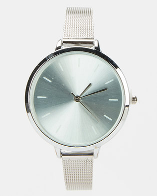 Joy Collectables Silver On Silver Skinny Strap Watch