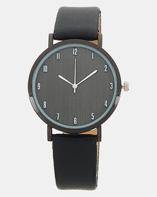 Joy Collectables PU Strap Watch Black On Black