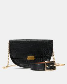 Joy Collectables Black Faux Croc Belt Bag with CrossBody Chain