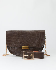 Joy Collectables Choc Faux Croc Belt Bag with CrossBody Chain
