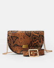 Joy Collectables Brown Faux Snake Belt Bag with CrossBody Chain