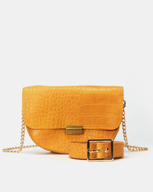 Joy Collectables Mustard Faux Croc Belt Bag with CrossBody Chain
