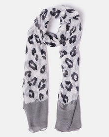 Joy Collectables Leopard Print Scarf Grey