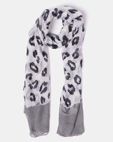 Joy Collectables Leopard Print Scarf Grey