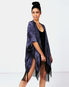 Joy Collectables Throwover Fringed Kaftan  Black