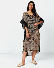 Joy Collectables Animal Printed Kaftan Brown