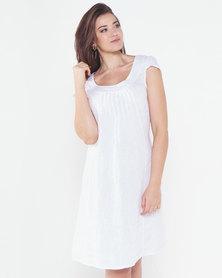 Assuili Round Collar Linen Dress White