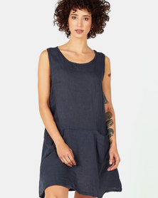 Assuili Trailer Collar Linen Dress with Pockets Marine Navy