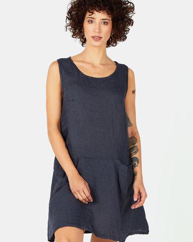 Assuili Trailer Collar Linen Dress with Pockets Marine Navy