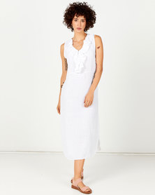 Assuili Flying V-Neck Linen Dress White
