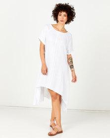 Assuili Lace Front Linen Dress White