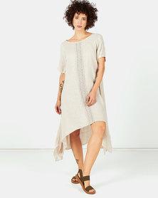 Assuili Lace Front Linen Dress Desert