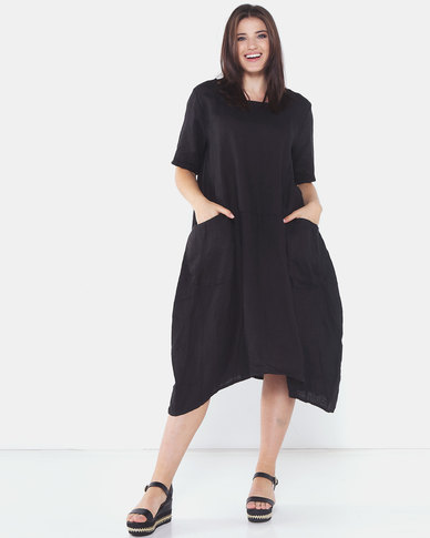 Assuili Wide Pocket Linen Dress Black