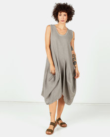 Assuili Sleeveless Midi Linen Dress Desert