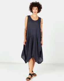 Assuili Sleeveless Midi Linen Dress Marine Navy