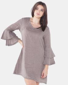 Assuili V-Neck Linen Dress With Double Ruffles Desert