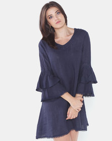 Assuili  V-Neck Linen Dress With Double Ruffles Marine Blue