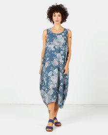 Assuili Floral Print Midi Linen Dress Marine Blue