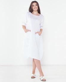 Assuili Aligne Double Linen Dress White