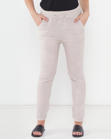 Assuili Linen Trousers With Lace Desert