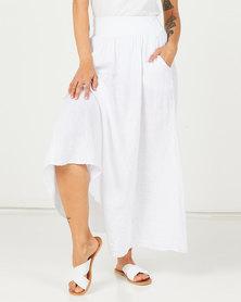 Assuili Linen Long Skirt With Pockets White