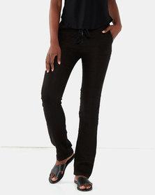 Assuili Linen Pants With Prince Scarf Belt Black