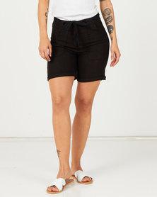 Assuili Baggy Pocket Linen Shorts Black