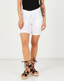 Assuili Baggy Pocket Linen Shorts White
