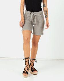 Assuili Desert Baggy Pocket Linen Shorts Brown