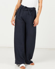 Assuili Linen Trousers With Lace Marine Navy