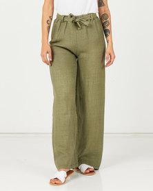 Assuili Linen Trousers With Lace Khaki
