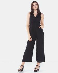 Assuili Sleeveless Linen Jumpsuit Black