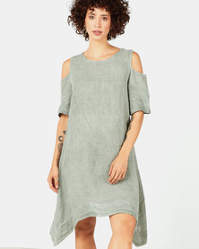 Assuili Round Neck Linen Dress Khaki