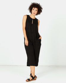 Assuili Linen Jumpsuit With Pockets Black