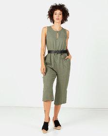 Assuili Linen Jumpsuit With Pockets Khaki