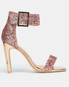 Footwork Nanti Heels Glitter Rose Gold