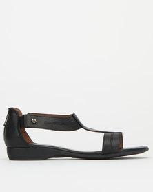 Froggie Leather Ida T-Bar Sandal Black