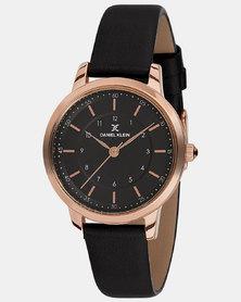Daniel Klein Leather Strap Watch Black