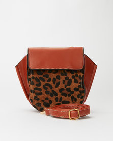 Miss Maxi Leopard Print Clutch Bag Brown