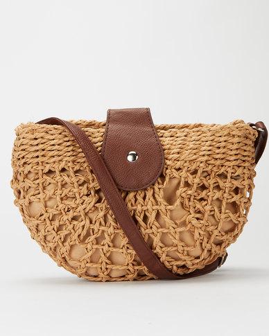Miss Maxi Woven Crossbody Bag Brown