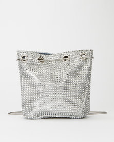 Miss Maxi Bling Bucket Crossbody Bag Silver