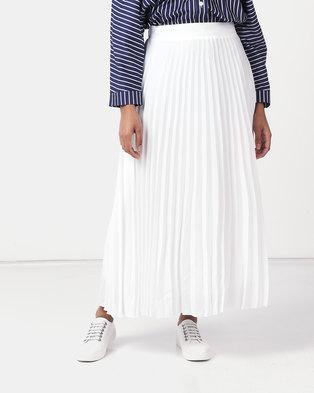 New Look Pleated Midi Skirt White