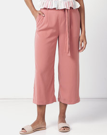New Look Tie Waist Cropped Trousers Coral