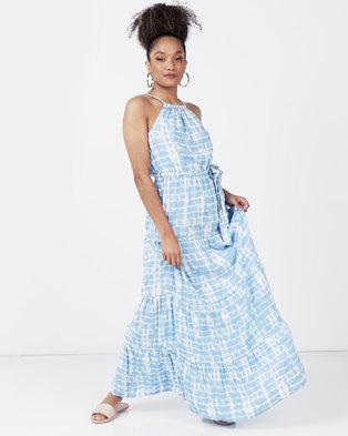 New Look Tie Dye Halterneck Maxi Dress Blue