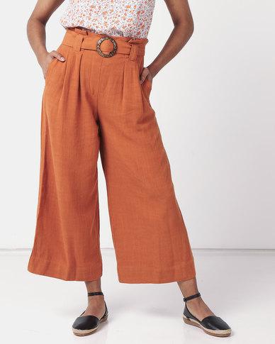 New Look Linen Look Crop Trousers  Rust