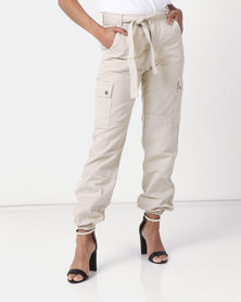 New Look Tie Waist Denim Utility Joggers Stone