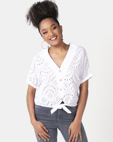 New Look Broderie Tie Front Shirt White